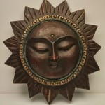 8651 Wood Sun mask plaque